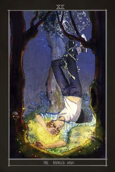 """"""" The Hanged man: suspension, restriction, letting go, sacrifice. When I read this I instantly thought about Adam. I'm very happy to had been able to take part on this amazing project, thanks to ! If you want a digital copy click. Fanart, Raven King, The Hanged Man, Raven Art, Cycling Art, Book Characters, Tarot Cards, The Dreamers, Book Art"""
