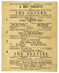 The Beatles 1963 Cavern Club Handbill