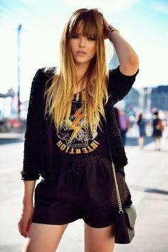 Kristina Bazan of KAYTURE sporting a printed tee.love the hair Long Haircuts With Bangs, Long Hair With Bangs, Long Hair Cuts, Long Hair Styles, Ombré Hair, New Hair, Fresh Hair, Long Layered Hair, Indie Fashion