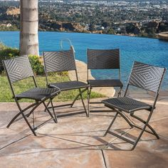 The Christopher Knight Home El Paso outdoor chairs have a polyethylene wicker construction which are both weather-resistant and UV-protected to provide year-round comfort.