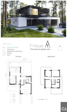 Ukraine LvivFIRM Guess line ArchitectsARC Andrii LesiukTYPE Residential house> Private residence Contemporary House Plans, Modern House Plans, Modern House Design, Modern Contemporary, Contemporary Building, Bungalow House Plans, Contemporary Apartment, Contemporary Wallpaper, Contemporary Chandelier