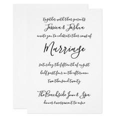 Modern Calligraphy Black Simple Typography Wedding Card - wedding invitations diy cyo special idea personalize card