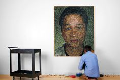 Eric Daigh's portrait of Pinterest founder Ben Silbermann, using over 20,000 pushpins into cork.