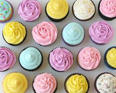 How to Frost Cupcakes, including video with beautiful rose technique (use star tip, start in center swirl to outside)