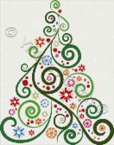arbre de noêl abstrait Abstract Christmas tree No2 cross stitch | Yiotas XStitch