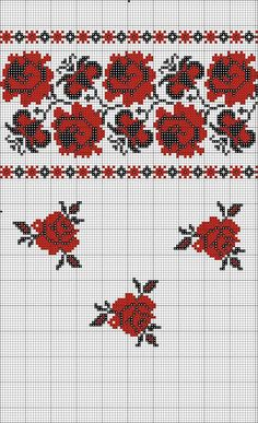 Beading _ Pattern - Motif / Earrings / Band ___ Square Sttich or Bead Loomwork ___ Cross Stitch Rose, Cross Stitch Borders, Cross Stitch Alphabet, Cross Stitch Flowers, Cross Stitching, Cross Stitch Embroidery, Embroidery Patterns, Hand Embroidery, Cross Stitch Patterns