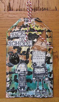 "back to school, via Flickr.  -- using the Balzer Designs ""Cursive Alphabet"" stencil"
