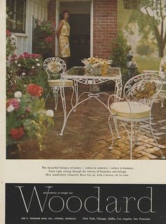 ADSAUSAGE - vintage advertising. Painting Patio Furniture, Patio Furniture Redo, Vintage Outdoor Furniture, Garden Furniture, Furniture Ads, Furniture Design, Outdoor Table Tops, Outdoor Decor, Garden Pavers