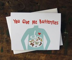Butterflies Valentine Card, Anniversary Card, Love Card - You Give Me Butterflies Tummy Anatomy Stomach