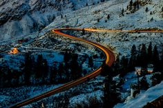 Driving on the Coquihalla highway towards Osoyoos at night