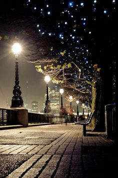 London, England. I visited in 1990 and as young as I was, I remember sitting on a bench like this one and watching mist over the streetlamps.