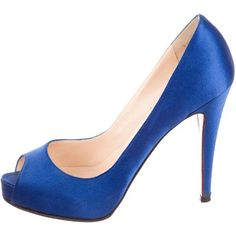 f2952a1d3142 Pre-owned Christian Louboutin Satin Peep-Toe Pumps (€300) ❤ liked