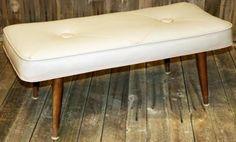 Danish-Modern-BENCH-stool-mid-century-vinyl-50s-60s-retro-vtg-MOD-foot-stool-EX