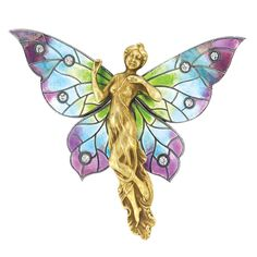 Art Nouveau Gold, Enamel and Diamond Brooch   14 kt., the sculpted gold female flanked by large wings set with iridescent pink, blue and green enamel, accented by 8 small old-mine cut diamonds, circa 1900
