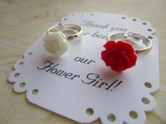 Great little stocking stuffer for the little girl in your life only $5.99 each.  Adjustable from size 2 to 5.  Childs Ring. Flower Girl Rose Ring Flower Girl Ring Flower Girl by BuyMeBling.