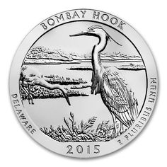 New 2015 ATB 'Bombay Hook National Wildlife Refuge' 5oz Silver Coin, Delaware Coin. These coins weigh 5 Troy Oz and are 999.0 Fine Silver. These coins are minted by The U.S. Mint.    The USA 'Bombay Hook' 5 oz Silver coin is part of the America the Beautiful coin series. This coin is the 4th coin issued in the 2015 America the Beautiful Silver Bullion Coin™ Program. It has been released by the U.S. Mint and the 29th coin overall in the series!
