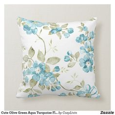 Cute Olive Green Aqua Turquoise Floral Watercolor Throw Pillow Green Aqua, Olive Green, Pastel Watercolor, Watercolor Pattern, Hipster Design, Floral Pillows, Summer Colors, Soft Furnishings, Custom Pillows
