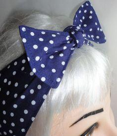 Navy Polka Dots Bow Headband Pinup Vintage Retro by 3DROPSOFPOISON, $10.00