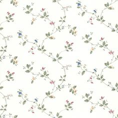 """Kitchen, Bed And Bath Resource IV Olivia 33' x 20.5"""" Floral Wallpaper"""