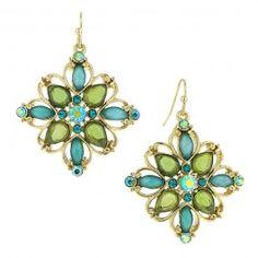 Eda Blue Zircon & Peridot Flower Earrings