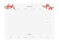 Floral Meal Planner, Grocery List, Weekly Meal Planner, Health Tracker, Exercise Plan, Health Planner by PenandPillar on Etsy