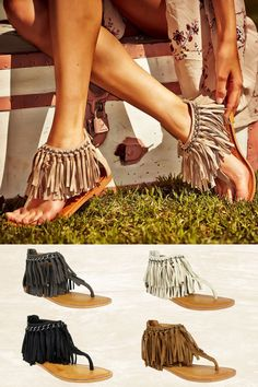 *10% OFF with code REPLAUREN at checkout + free, fast US shipping** || Keep The Peace Fringe Sandals from Closet Candy Boutique