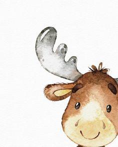 Forest animal art - elk watercolor - forest nursery - nursery wall art - cute baby girl art - watercolor nursery - nursery - Drawing Still 2020 Baby Room Art, Baby Wall Art, Baby Art, Art Wall Kids, Nursery Wall Art, Girl Nursery, Girl Room, Nursery Decor, Art Aquarelle