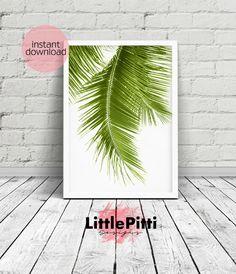 Tropical Leaf Print, palm leaf print, tropical print, tropical wall art, green decor, palm leaves, green palm art, leaves print, botanical