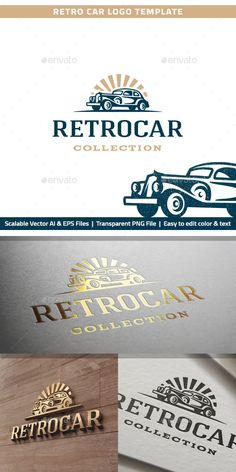 Retro Car Logo by RL-studio Logo template with the image of the retro classic car for your company. AI, EPS, PNG Editable Color and Text Resizable Link to