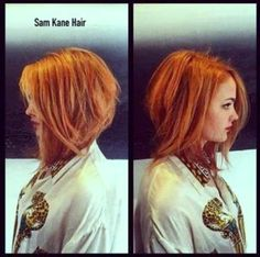 Long Angled Bob Hairstyles For Thin Hair Red Bob Haircut, Haircut And Color, Haircut Style, Medium Hair Styles, Curly Hair Styles, Short Styles, Angled Bob Hairstyles, Bob Haircuts, Trendy Haircuts