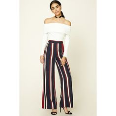 Forever21 Striped Palazzo Pants (31 CAD) ❤ liked on Polyvore featuring pants, straight leg pants, white trousers, palazzo trousers, white palazzo trousers and white pants