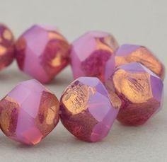 Czech Glass Beads - Central Cut Beads -  Pink Opaline with Bronze Finish -  9mm Beads - 15 Beads @SolanaKaiBeads on Etsy #Beads #BeadStore #SolanaKaiBeads
