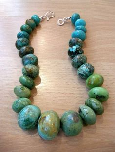 Large graduated necklace of various shades of Chinese Turquoise.