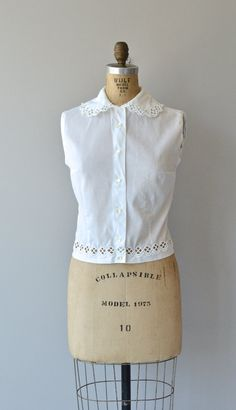Keswick blouse vintage 1950s blouse white cotton by DearGolden