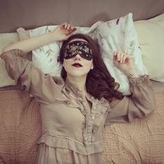 plum lips Womens sleep mask  Beautiful night eye mask  by SewingAffair