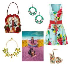 """Green, yellow, red"" by gloria-yi-qiao on Polyvore featuring Bavna, Trina Turk, Sergio Rossi, Dolce&Gabbana, Yves Saint Laurent and H&M"
