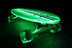 """$189.99 Flexdex 29"""" Clear Lighted Skateboard with green LED lights"""