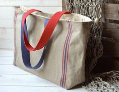 Eco friendly Market tote with LINEN Blue and Red Stripes French Tote Tote Pattern, Bag Patterns, Jute Bags, Handmade Handbags, Market Bag, Red Stripes, Natural Linen, Canvases, Yorkie