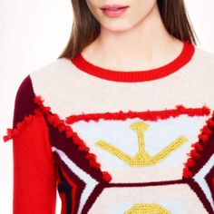 J Crew women Lambswool tassel sweater / X-SMALL / POPPY GARNET NATURAL