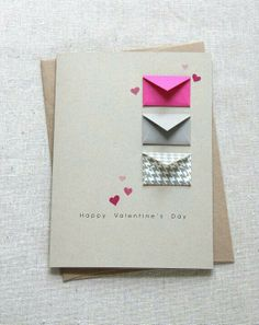 Valentine's Card - Tiny Envelopes Card with Custom Messages.or any occasion card - like the tiny envelopes Valentine Day Cards, Valentines Diy, Saint Valentine, Homemade Valentines Day Cards, Happy Valentines Day, Homemade Anniversary Cards, Valentine Messages, Valentines Design, Love Cards
