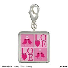 Love Birds in Pink Charms
