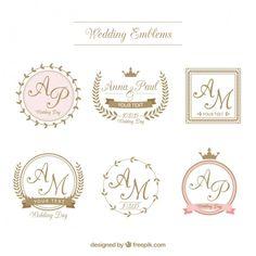 Emblemas De Casamento Retro No Estilo Ornamental Vetor Gratis Mais