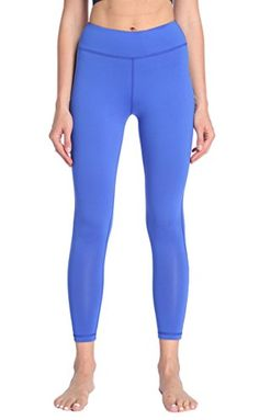 SILKWORLD Women's Power Flex Yoga Pants with Pockets Workout Leggings Blue US Medium ** You can get more details by clicking on the sponsored image.