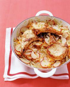 Braised Pork and Cabbage - Martha Stewart Recipes    packaged coleslaw mix, red new potatos, pork chops, onion, oil. MM MMM Good