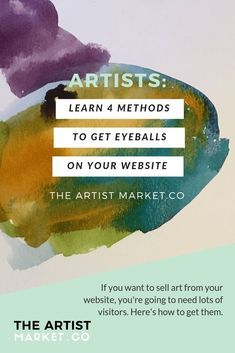 Getting visitors to your art website is something we obviously all need more help with. The more you can get your art seen, the more art you can sell online. Use these four methods to get more eyes on your art. Marketing Tactics, Sales And Marketing, Content Marketing, Social Media Marketing, Business Marketing, Marketing Strategies, Facebook Marketing, Digital Marketing, Money Making Crafts