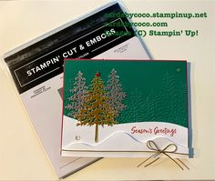 Christmas card, embossing, trees, foils, cardmaking, homemade cards East Wind, Evergreen Forest, Handmade Stamps, Embossing Folder, Stampin Up, Christmas Cards, Homemade Cards, Cardmaking, Paper Crafts