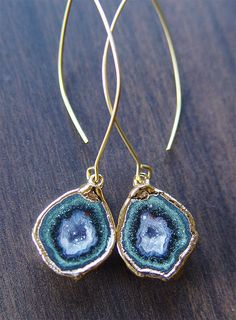 Green Geode Druzy Agate Earrings in 14k gold One by friedasophie, $89.00