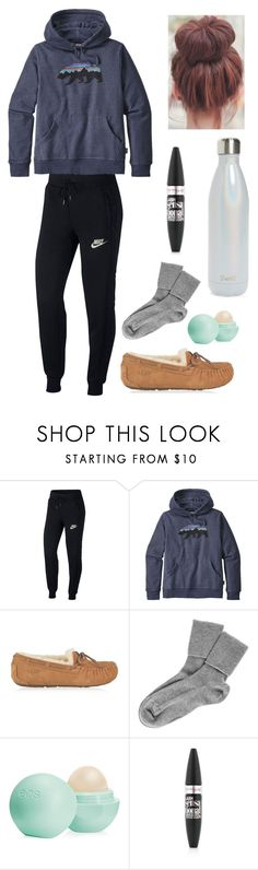 """Comfy"" by lagr on Polyvore featuring NIKE, Patagonia, UGG, Black, Eos, Maybelline and S'well"