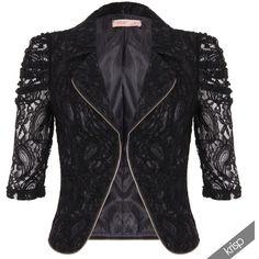 KRISP Femme Veste Blazer Dentelle Manches 3/4 Fermeture Éclair ❤ liked on Polyvore featuring outerwear, vests, vest blazer, blazer jacket, blazer vest and vest waistcoat