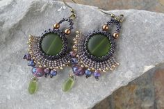 Fun earrings woven by Johanna Wall,
